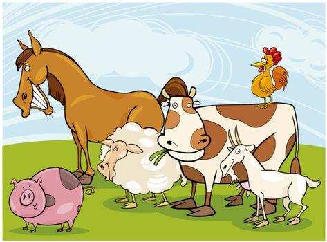 funny farm animals group cartoon illustration