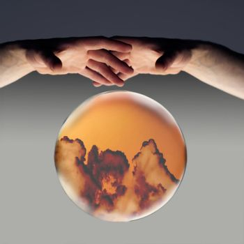 crystal ball showing dark clouds on the horizon with a clipping path