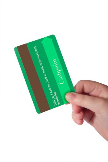 a child holding a credit card (made up fake card ) with clipping path