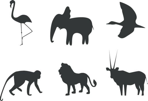 Vector picture of silhouettes of animals of Africa