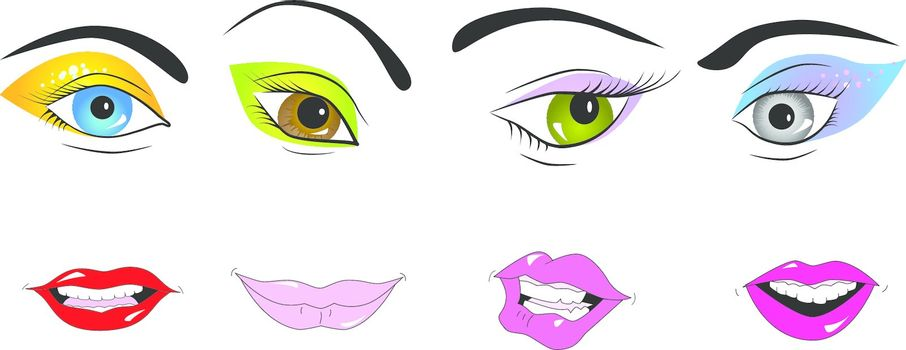 Vector picture of parts of face: eyes and lips