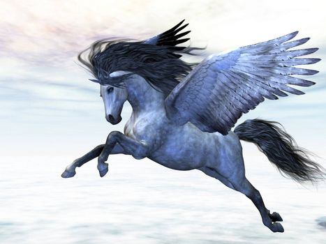 Pegasus flies high in the air over the clouds.