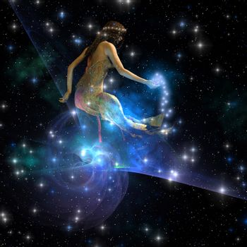 Celesta, spirit creature of the universe, spreads stars throughout the cosmos.