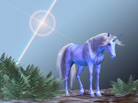 A white unicorn rests under a bright star.