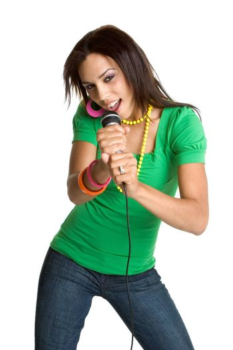 Beautiful black teen girl singing