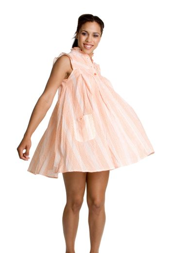 Isolated black woman twirling dress