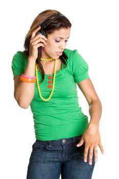 Black girl listening to music