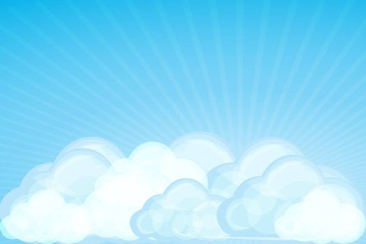 illustration of clouds with wave on white background