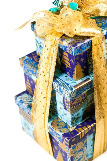 pyramid of blue gift boxes