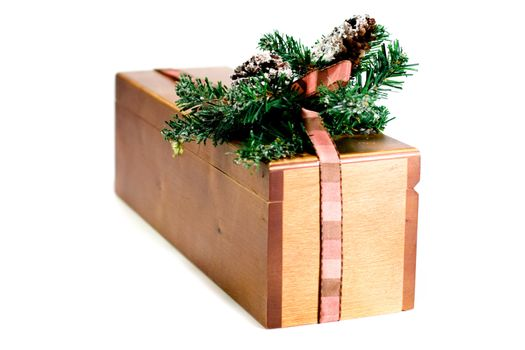 wooden gift box with xmas decoration