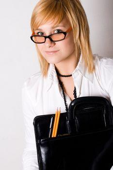 young businesswoman with portfolio