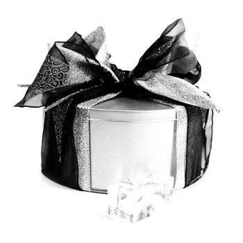 metal gift box with xmas decorations
