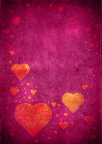 Love themed magenta vintage paper background with hearts and copy space