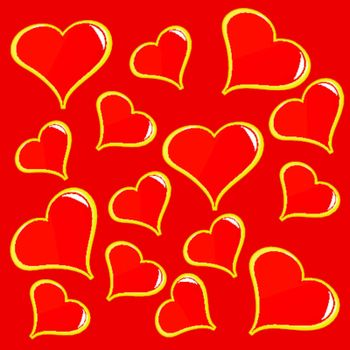 An abstract red vector background with a series of red hearts on a red background