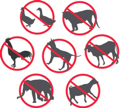 Warning signs bovine animals, goats dog duck elephant tiger cock. On the white background. EPS8+JPG
