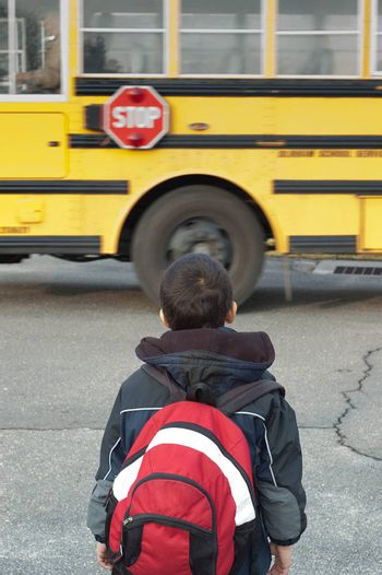 a toddler waiting to catch the school bus