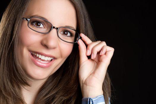 Beautiful smiling woman wearing glasses