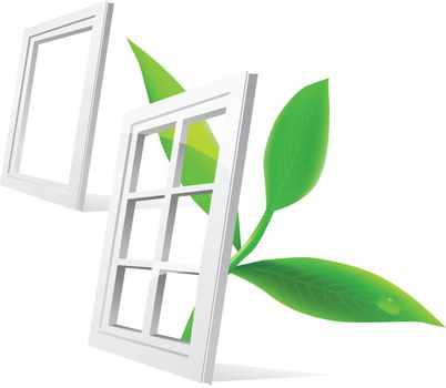 Vector window and leaf isolatde on white background