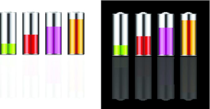 Battery illustration with various loads and colors