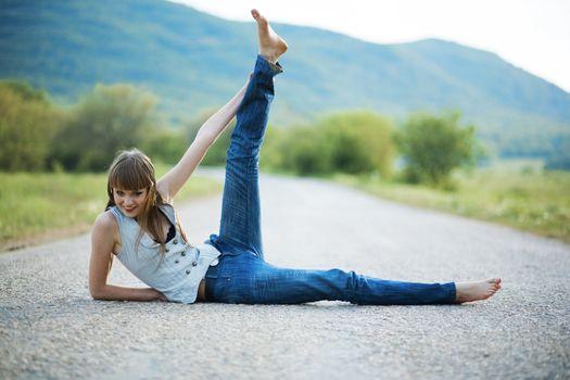 Slim model on road
