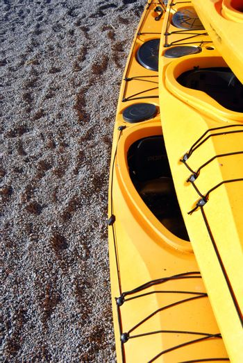 Recrational kayaks on shore