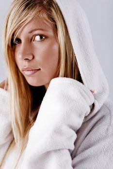 Girl in white hood