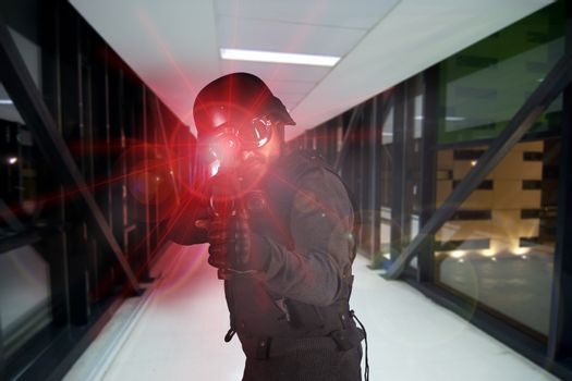 Soldier, defending the company against terrorism