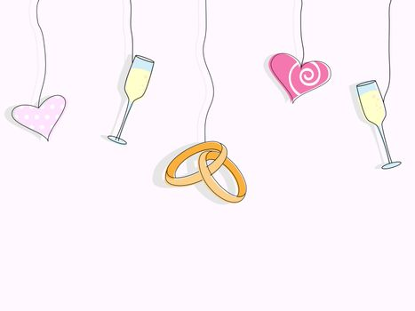 Vector pattern for wedding invitation. Wedding rings, hearts and glasses of champagne