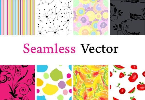 Set of different vector seamless backgrounds