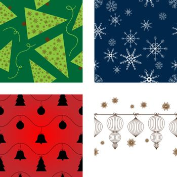 Set of vector seamless Christmas backgrounds
