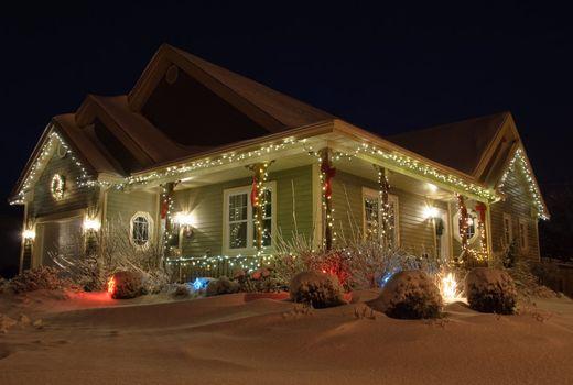 Christmas House with lights