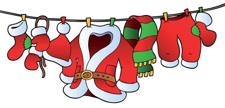 Christmas costume on clothesline