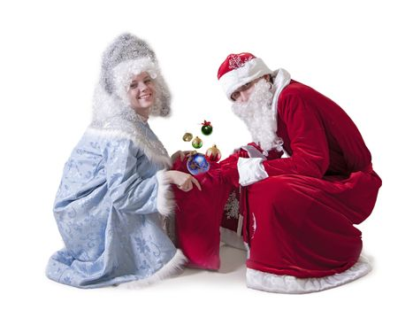 Santa Claus and Snow Maiden are preparing to distribute gifts on New Year's Eve