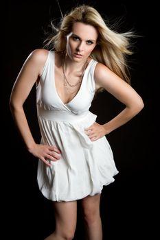 Pretty blond fashion model woman