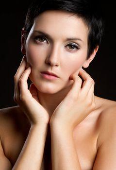 Beautiful young woman closeup face