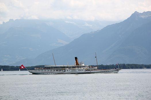 Old steamboat on the lake of Geneva, Switzerland
