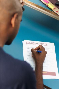 student filling application form