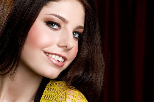Pretty happy teen girl smiling