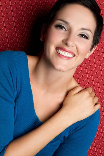 Beautiful cheerful young woman smiling