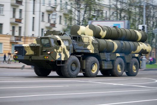 anti-aircraft complex s-300 in motion on city street