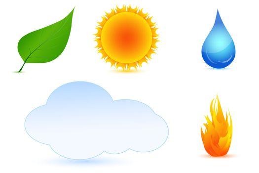 illustration of types of weather on white background