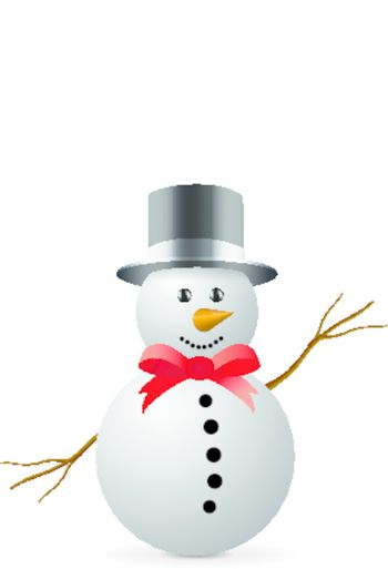 Snowman with hat isolated on white background