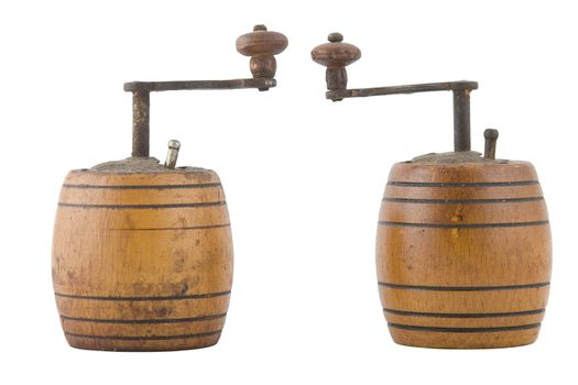 two vintage brown grinder, wooden made