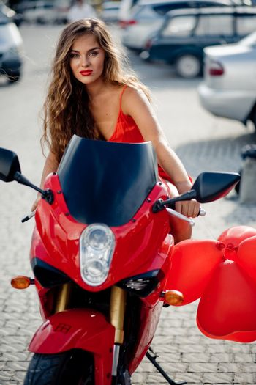Beautiful girl on motorcycle