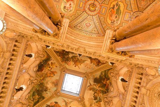 the beautiful interior of grand Opera in Paris France