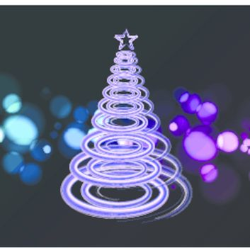 Vector illustration of blue Abstract Christmas tree on the black background. 2011.
