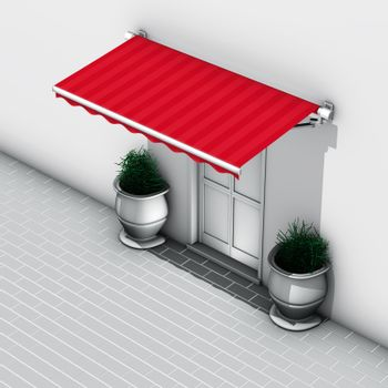 Awning red stripes
