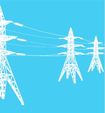 vector power line illustration on blue background