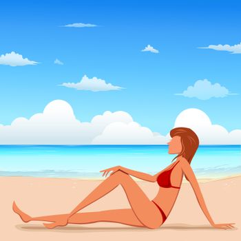 illustration of fashion lady on beach