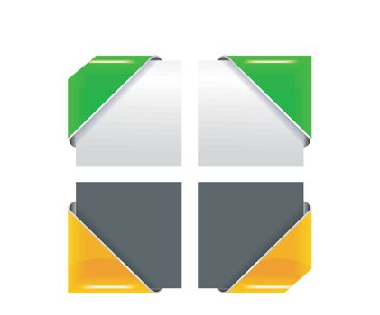 The vector colored corner ribbon set on white background. EPS v. 8.0